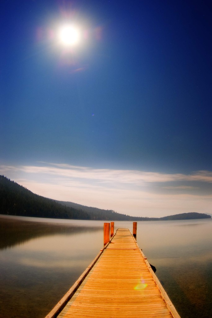 Dock in moonlight
